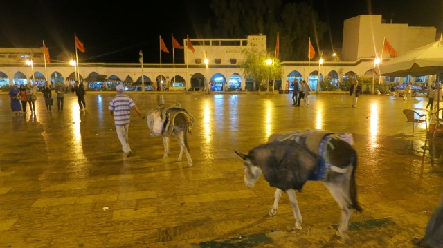 The town square at night