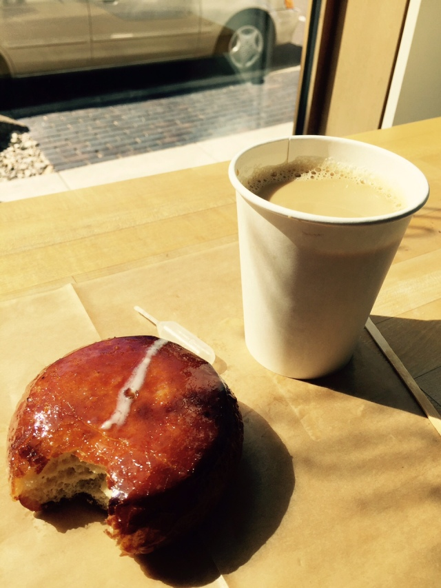 Coffee with Creme Brûlée Donut for Lunch